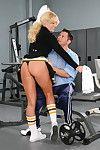 Uberhot cheerleader hammering a football player
