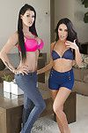 Dark brown lesbian chicks Megan Rain and Peta Jensen wank hairless love-cages