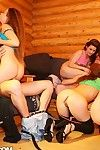 Glamorous student babes pair a lewd hardcore get-together