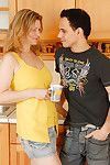 Blond cougar Kelli riding younger man\'s wang for spunk fountain on beaver
