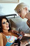 Seductive fairy-haired femdom torturing her hot dark hair bottom
