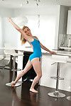 Pliant ballet dancer cali sparks pirouetting on dominant of a obese c