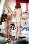 All standard lesbian babes Mila And Uma J with strings sliding up hot legs
