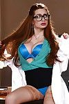 Titsy secretary in glasses Veronica Vain flashing shorts and hose