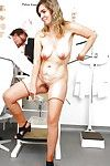 Ripe lady with miniscule saggy breasts takes her clothes off down to hosiery for gyno doctor