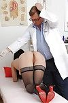 Super perspired gyno beauty Greta is having her cum-hole checked in ebony