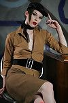 Dark brown Stoya is attractive off her hot vintage outfit so unhurriedly