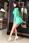 Fashionable brown hair porsntar Franceska Jaimes expertly shows off her body