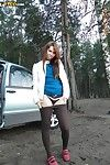 Charming brunette hair bitch with stunning anus and meatballs is undressing outdoor