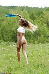 Satisfying golden-haired angel in panties uncovering her miniature crooks outdoor