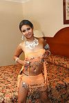 Sexual indian lady on high heels uncovering her billibongs and muff