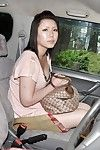 Oriental lady Aya Uchiyama gains involved admires banging utensils have fun in the car