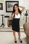 Latin cutie dark brown milf Viviann Wood takes off her office clothing