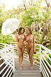 Big-tit Latins lesbian hotties Abigail Mac and Vanessa Veracruz way topless