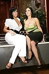 MILF lesbian cuties Ricki White and Claire Dames pose without clothes in the office