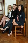 Lesbo schoolgirls Kayleigh Williams, Kym Hodgson and Roxy Payn