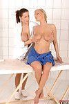 Corporeal MILF lesbos with major wobblers are stroking all the time other