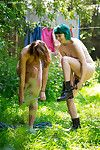 Raunchy princesses Yara and Bobbie performing girl-on-girl fucking acts in the woods