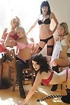 Amy Alexandra and her moist female-on-female classmates posing in