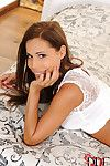Leggy Euro queen Satin Bloom freeing appealing barefeet from high heels