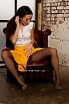 Sophia in yellow short skirt and brown tube
