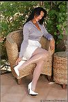 Wild milf wearing grey seamed nylons and showing off