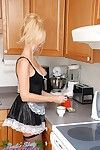 Massive breasted golden-haired MILF female servant Barbi Sinclair can\'t live without  to disclose her outstanding body in appealing underware in the kitchen.
