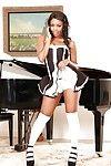 Alluring ebon woman slave in white OTK socks flashing upskirt undies