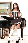 Alluring ebon woman slave in white OTK socks flashing upskirt undies