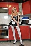 Lustful household slave in nylons Donna Bell has no underclothes underneath her uniform