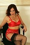 Dirty calm female servant in nylons Abigail Fraser showing her heavy jugs