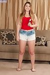 Adolescent plumper Cali Hayes playing with dick young wet crack on casting ottoman