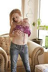 Boobsy MILF in jeans undressing and teasing her gash with her fingers