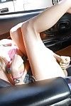 Attractive fairy princess Nicole Ray wanking her drenched twat in the car