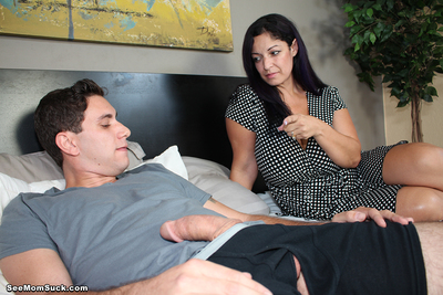 Boobsy step mom engulfing huge dick of her step son