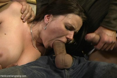 Big titted russian slut gets gangbanged for the first time