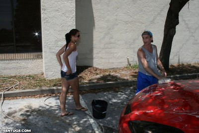Ashley storm washing car and prostate play huge pecker public