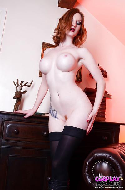European cosplay and fetish gal model Zara Du Rose posing in stockings