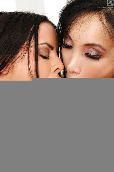 Deadly sweet milfs Katsuni and Brandy Aniston swallow huge bone