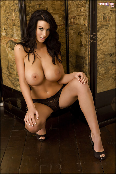 Dark hair pretty with wonderful big pointer sisters Alice Goodwin way in a lingerie