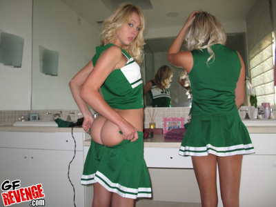 Cheerleader girlfriends show off their hot bodies and put on uniform