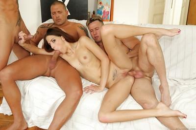 Desirable european doxy enjoys fervent anal gape group sex action
