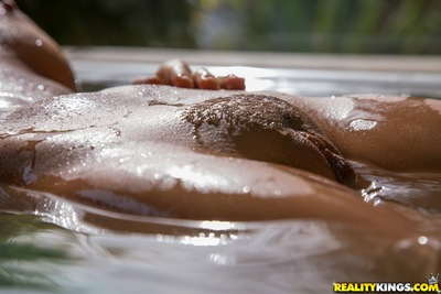 Wet darling with elegant face Abigail Mac baths her vagina outdoors
