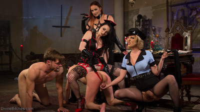 Veruca james, cherry torn & bellas rossi use their ass, pussy, feet and strap-on