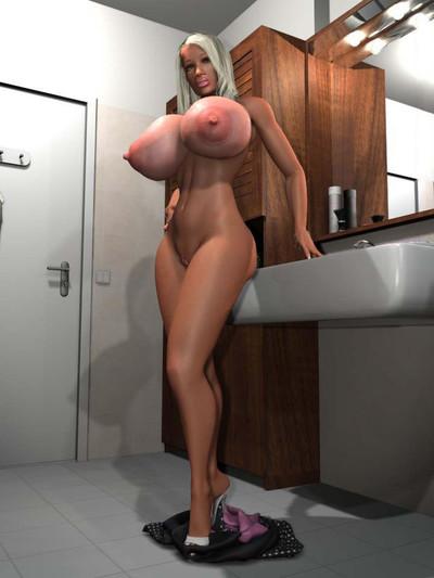 Seductive 3d blonde exposing her weighty scoops in the bath