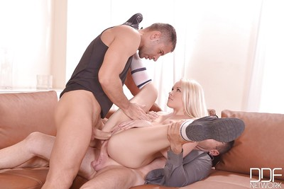 European cowgirl Lola Taylor has threesome groupsex in close up