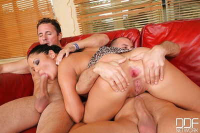 Milf chick from Europe Angelica Heart enjoys having group sex