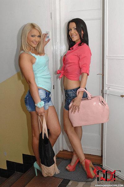 Youthful European MILFs Lana & Samia Duarte winning anal fucking in three way fucking