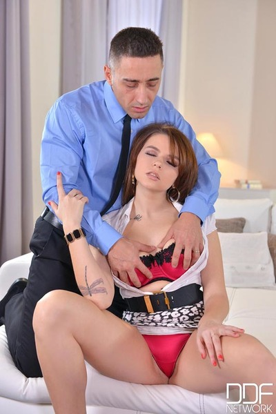 Inked redhead Marina Visconti baring big juggs ahead of hardcore anal intercourse