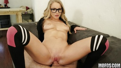 Hot blond Staci Carr sucking vast dick until cum drips from mouth